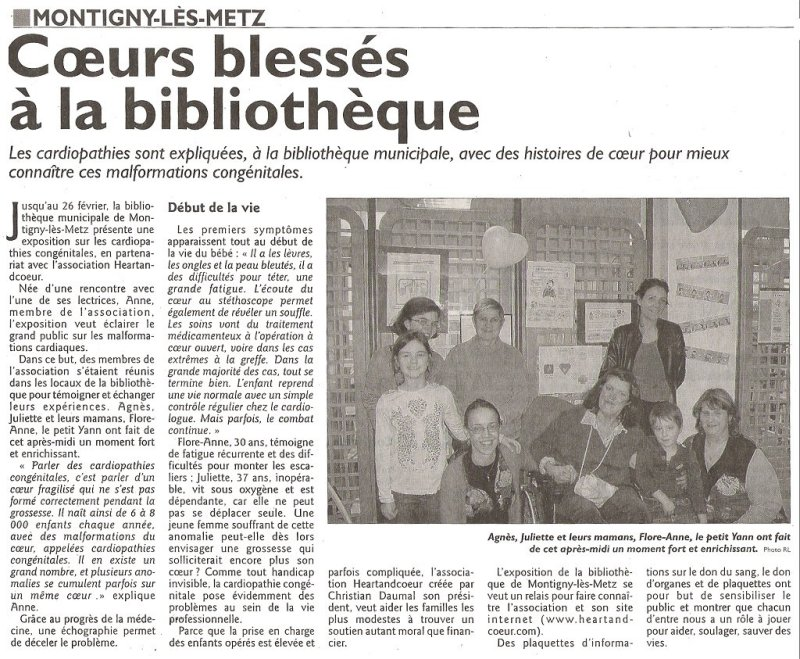 Article de presse sur  le républicain Lorrain du 21 fevrier 2011
