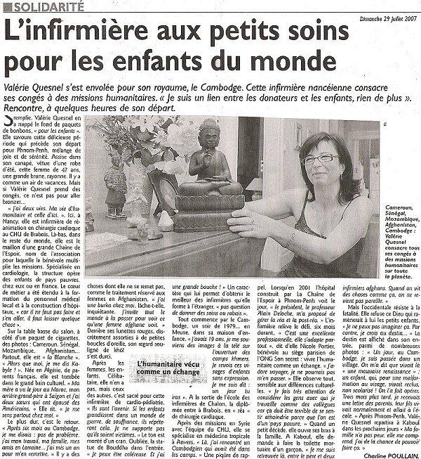 Article infirmière au Cambodge