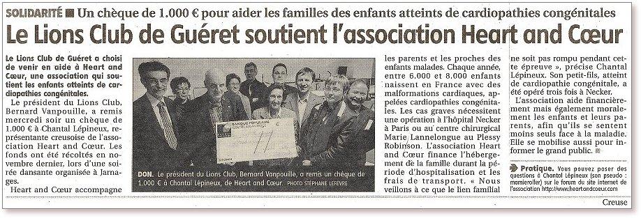 Remise du  chèque par  le Lions Club de Gueret à Chantal Lepineux pour Heart and Coeur