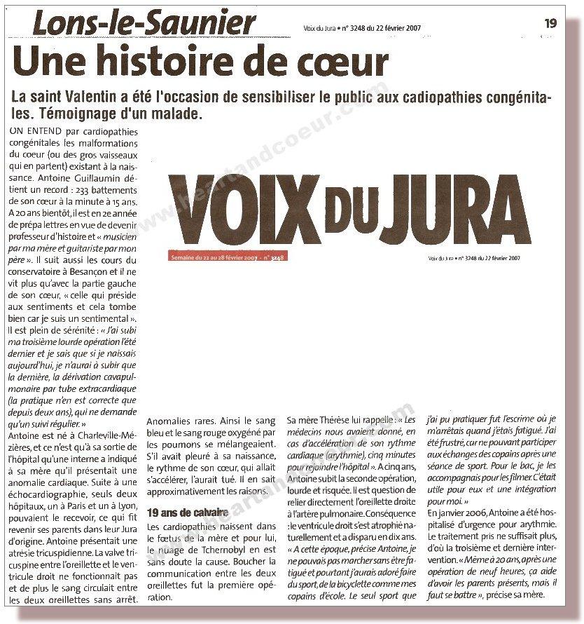 Article paru dans La voix du Jura